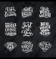 set of lettering quotes about woman voice and girl vector image