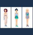 set of women in modern summer mode fashionable vector image vector image