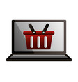 shopping online basket laptop technology vector image