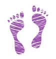 sketched human footprints stylized scratched vector image