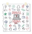 Social Media Word and IconDoodle sketchy vector image vector image