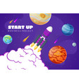 start up concept space background with rocket vector image vector image