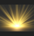 sunlight isolated golden sun rays radiance vector image