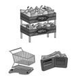 supermarket and equipment monochrome icons in set vector image