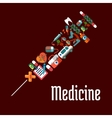 Syringe shaped health care or medicine icons vector image