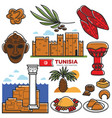 tunisia travel tourism famous symbols and tourist vector image vector image