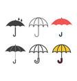 umbrellas icons set vector image vector image
