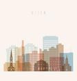 utica state new york skyline detailed silhouette vector image vector image