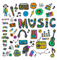 hand-drawn collection with music doodles colorful vector image