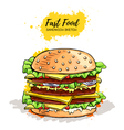 Hand drawn Hamburger or Sandwich vector image