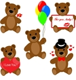 Set of Valentine teddy bears vector image