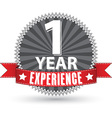 1 year experience retro label with red ribbon vector image