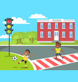 banner kids near school in cartoon style vector image vector image