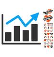 bar chart trend icon with valentine bonus vector image vector image