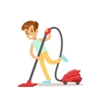 Boy Cleaning The Floor With Vacuum Cleaner Smiling vector image vector image