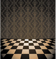 Brown room with checkered floor vector image vector image