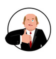 businessman thumbs up boss winks emoji business vector image