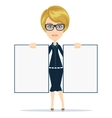 Cartoon teacher businesswoman in glasses holding vector image vector image