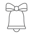 christmas bell thin line icon xmas and design vector image
