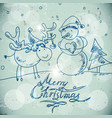 Christmas greetings card with a snowman and moose vector image vector image
