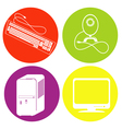 color icon set with computer monitor keyboa vector image
