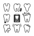 cute teeth line style set with different vector image vector image