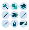 Design tools flat icons set vector image