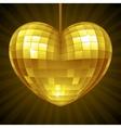 Disco Heart Yellow mirror disco ball vector image