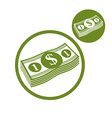 Dollars cash money stack simple single color icon vector image