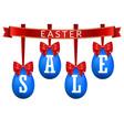 easter egg sale 3d banner set red ribbon bow vector image vector image