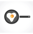 Egg in a pan in the form of heart vector image