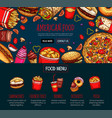 fast food menu with takeaway dishes and drink vector image vector image
