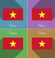 Flags Vietnam Set of colors flat design and long vector image vector image