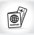 flight ticket and passport icon vector image