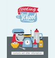 flyer template with kitchen utensils electric and vector image vector image