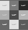 flying plane sign side view grayscale vector image vector image