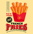french fries banner design vector image vector image