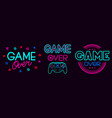 game over signs computer video game death screen vector image