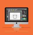graphic editor software icon on desktop computer vector image