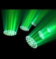 green spotlights on dark background vector image vector image