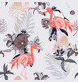 Hand drawing seamless pattern with pink flamingo