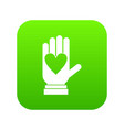 hand with heart icon digital green vector image