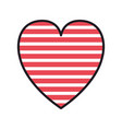 heart love with stripes valentines card vector image vector image