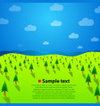 landscape with green trees hills and sky vector image vector image