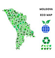 leaf green collage moldova map vector image vector image