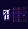 modern calendar design 2019 vector image
