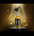 natural oil cosmetic ad poster - glass dropper vector image