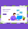 online assistant help concept cartoon man vector image