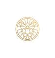 outline emblem geometric lion head in circle vector image