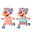 pigs playing roller skate vector image vector image
